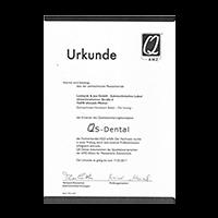 Urkunde Qualitätssicherung